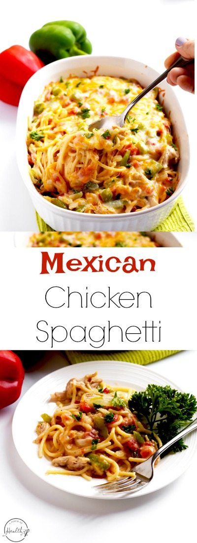 Mexican chicken spaghetti is a delicious and festive dinner that your whole family will love. | APinchOfHealthy.com