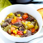 Instant Pot vegetable beef soup is a hearty and easy dinner that the whole family will love!   APinchOfHealthy.com