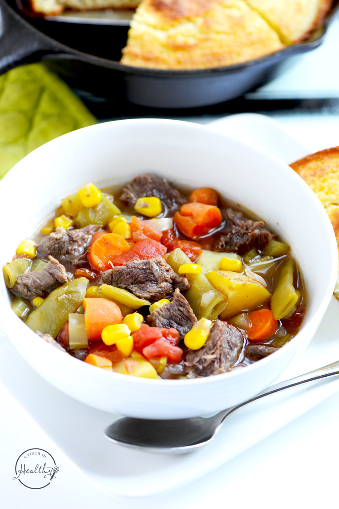 Instant Pot vegetable beef soup is a hearty and easy dinner that the whole family will love! | APinchOfHealthy.com