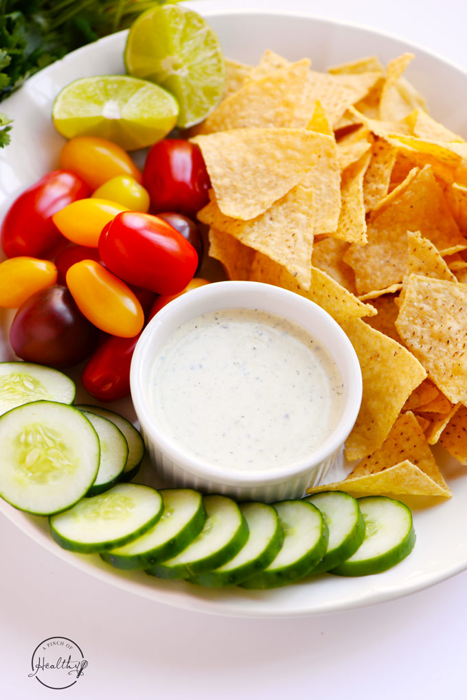 Cilantro lime ranch dressing is great on salads, veggies, tacos, tortilla chips, or just about any other Mexican dish you can think of. | APinchOfHealthy.com