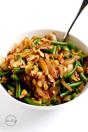 Green Beans with Caramelized Onions and Almonds