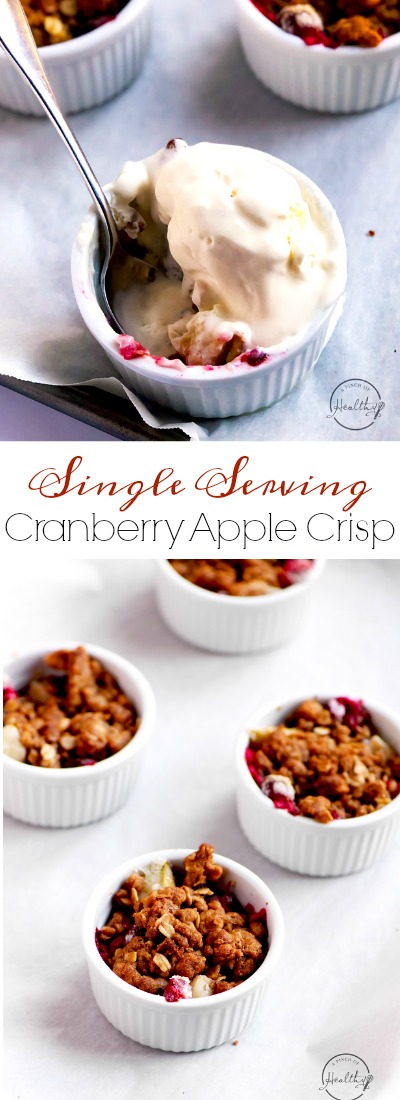 My cranberry apple crisp is the perfect warm and cozy dessert for the holidays - sweet, tart and delicious! | APinchOfHealthy.com
