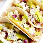 These verde chicken soft tacos with cilantro lime ranch are an easy dinner that is perfect for busy nights when you need a quick dinner. | APinchOfHealthy.com