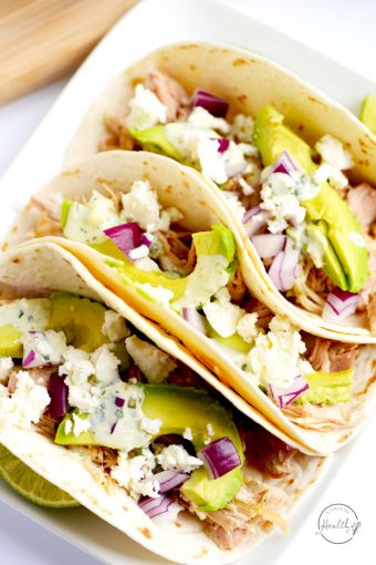 These verde chicken soft tacos with cilantro lime ranch are an easy dinner that is perfect for busy nights when you need a quick dinner.   APinchOfHealthy.com