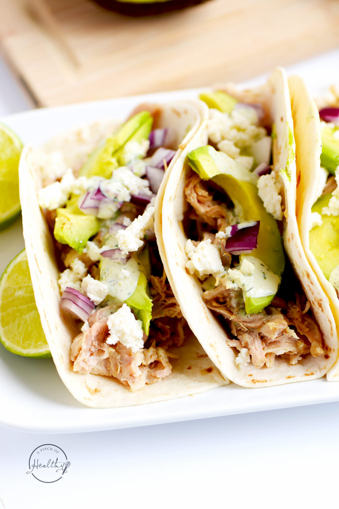 Verde Chicken Soft Tacos With Cilantro Lime Ranch A
