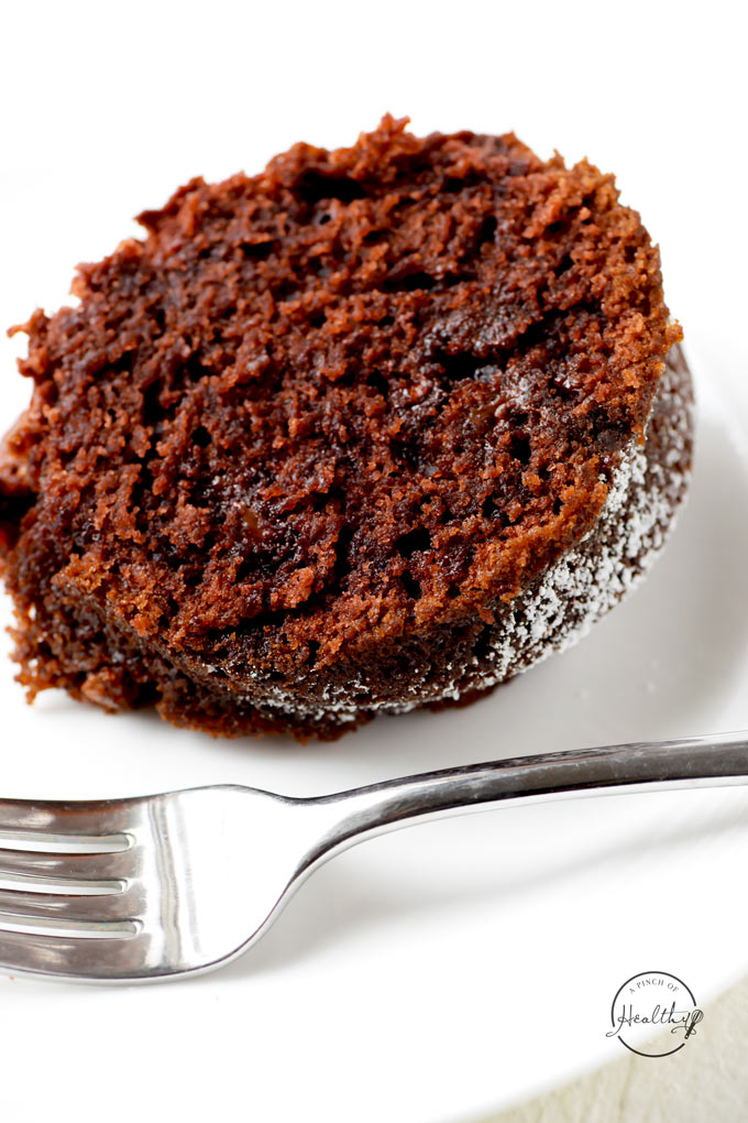 Double chocolate bundt cake is an easy dessert that everyone goes crazy for, and it is perfect for the holidays.   APinchOfHealthy.com