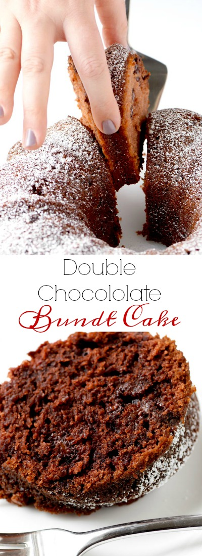 Double chocolate bundt cake is an easy dessert that everyone goes crazy for, and it is perfect for the holidays, or ANY time of year. | APinchOfHealthy.com