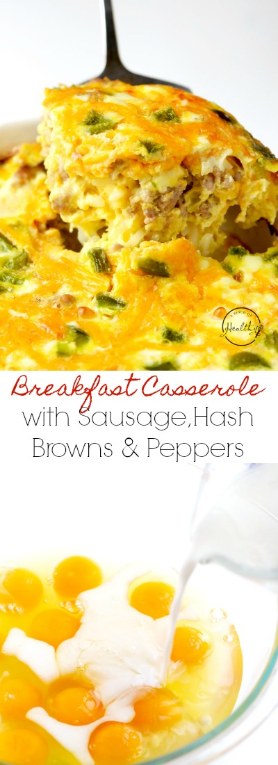Breakfast casserole with sausage, hash browns, peppers and cheese is perfect for family brunch, and we love making it during the holidays. | APinchOfHealthy.com