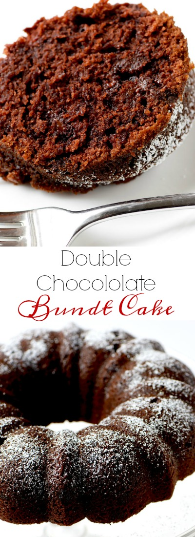 Double chocolate bundt cake is an easy dessert that everyone goes crazy for, and it is perfect for the holidays, or ANY time of year.   APinchOfHealthy.com