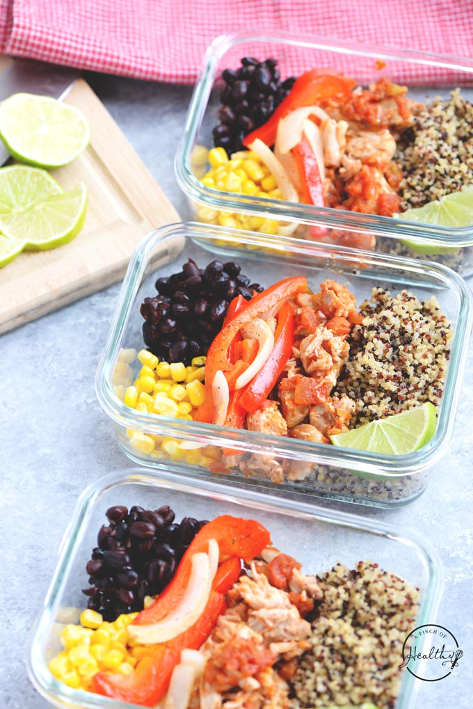 Chicken Quinoa Burrito Bowls Meal Prep A Pinch Of Healthy
