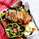 My Greek salad with chicken is so delicious and satisfying, and it is inspired by Zoe's Kitchen. | APinchOfHealthy.com