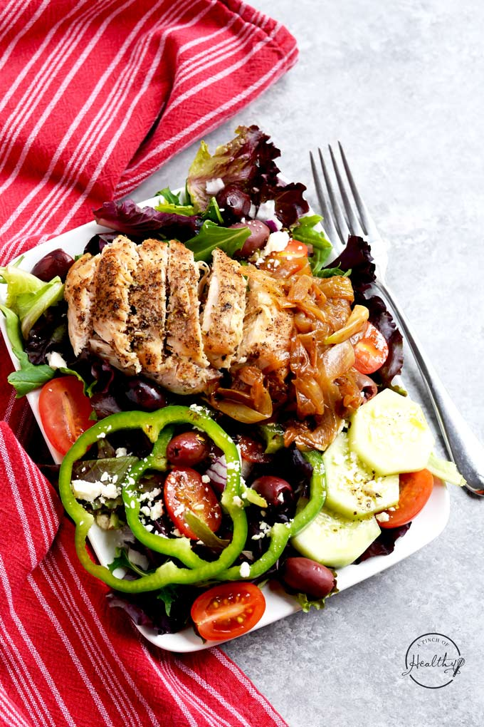 My Greek salad with chicken is so delicious and satisfying, and it is inspired by