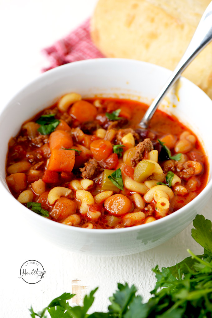 Pasta e fagioli soup is so hearty, healthy and delicious, and you can make it in your Instant Pot or on the stovetop.| APinchOfHealthy.com