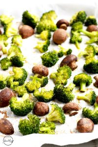 Roasted broccoli and mushrooms is a simple side dish that is both delicious and easy to make. | APinchOfHealthy.com