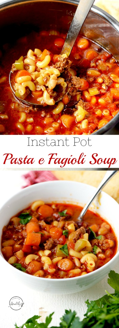 Instant Pot Pasta e fagioli soup is so hearty, healthy and delicious. Perfect one pot family dinner that everybody goes crazy for!| APinchOfHealthy.com