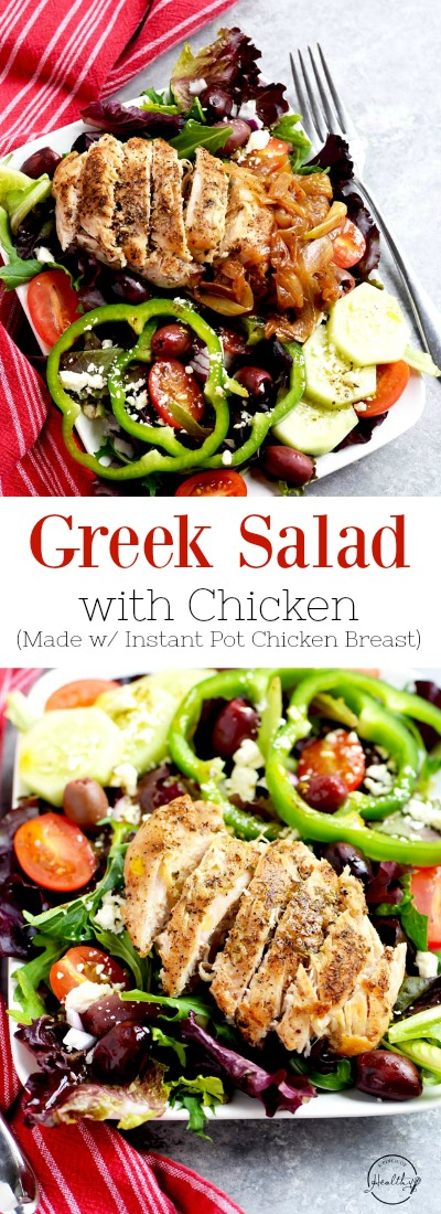 My Greek salad with chicken is so delicious and satisfying, and it is inspired by Zoe's Kitchen. Tomatoes, cucumbers, kalamata olives, feta cheese, bell pepper rings, caramelized onion. | APinchOfHealthy.com