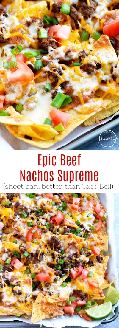 You need to make this epic beef nachos supreme at your next game day. Seasoned ground beef, refried beans, cheese, tomatoes and green onions. #nachos #sheetpan APinchOfHealthy.com