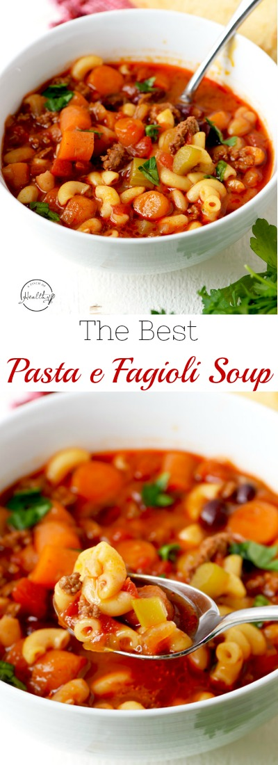 Pasta e fagioli soup is so hearty, healthy and delicious. Perfect one pot family dinner that everybody goes crazy for! | APinchOfHealthy.com