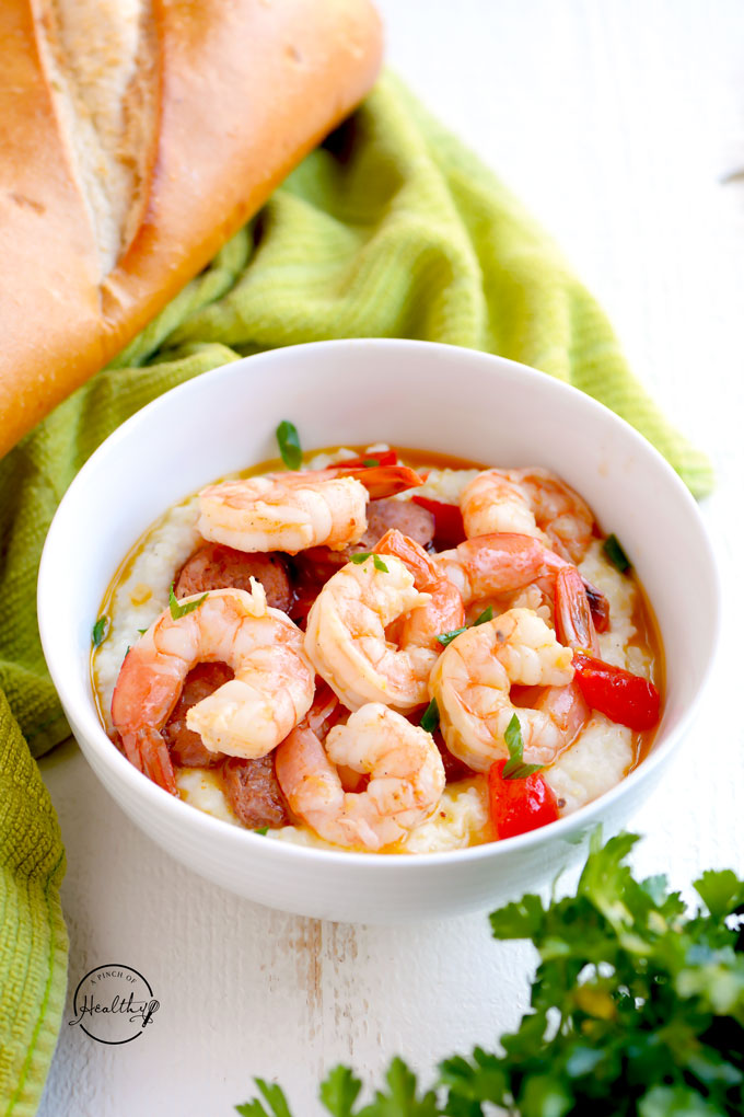 Cajun shrimp and grits with andouille sausage