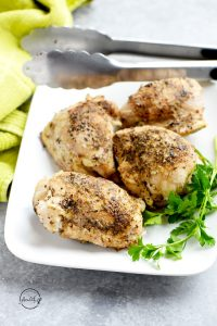 Instant Pot chicken thighs made with garlic and herbs