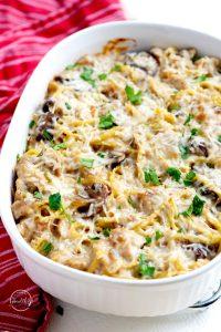 Chicken tetrazzini casserole with chicken, mushrooms, creamy white wine sauce and parmesan cheese
