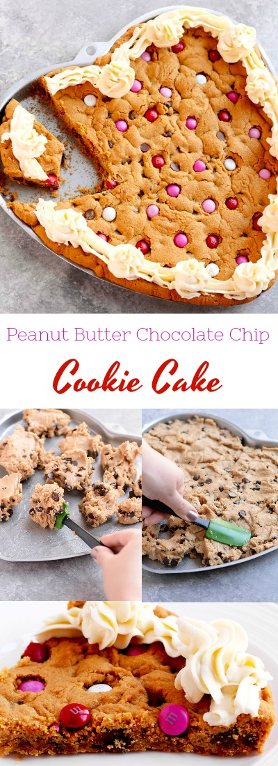 This peanut butter chocolate chip cookie cake is the perfect treat for your sweetheart on Valentines Day. #cookiecake #peanutbutter #valentinesday | APinchOfHealthy.com