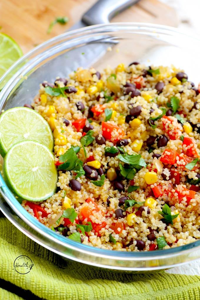 Quinoa black bean salad with corn, red pepper, onion, cilantro and lime