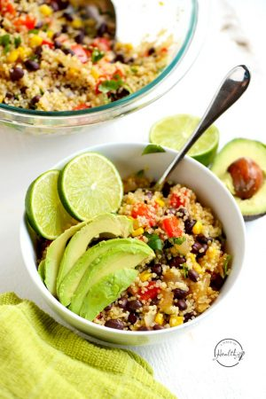 Quinoa black bean salad with corn, red pepper, onion, cilantro and lime