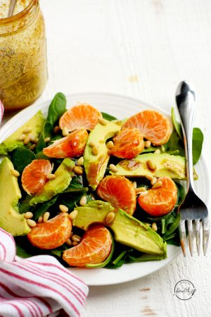 Spinach Salad with Mandarin Oranges, Avocado and Pine Nuts