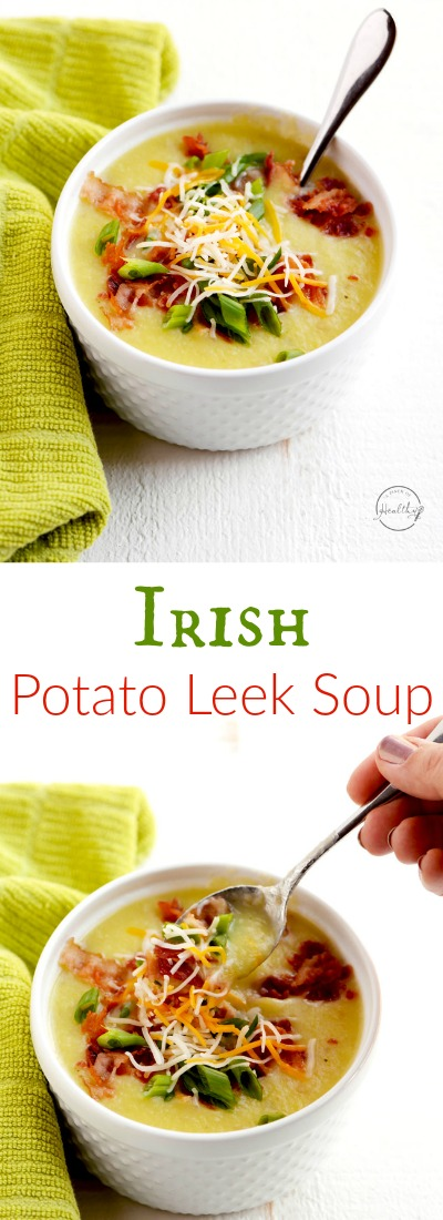 Irish Potato Leek Soup - perfect for St. Patrick's Day...or any day!#Irish #PotatoLeekSoup | APinchOfHealthy.com