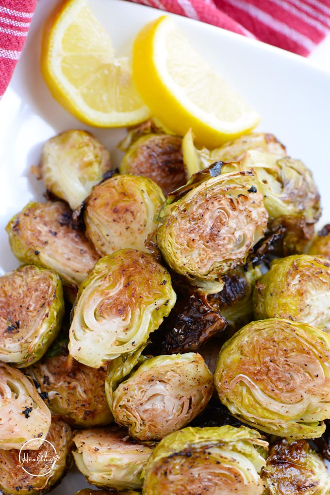 Lemon garlic roasted Brussels sprouts