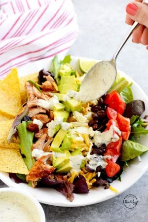 Chicken Taco Salad (with creamy jalapeño dressing)