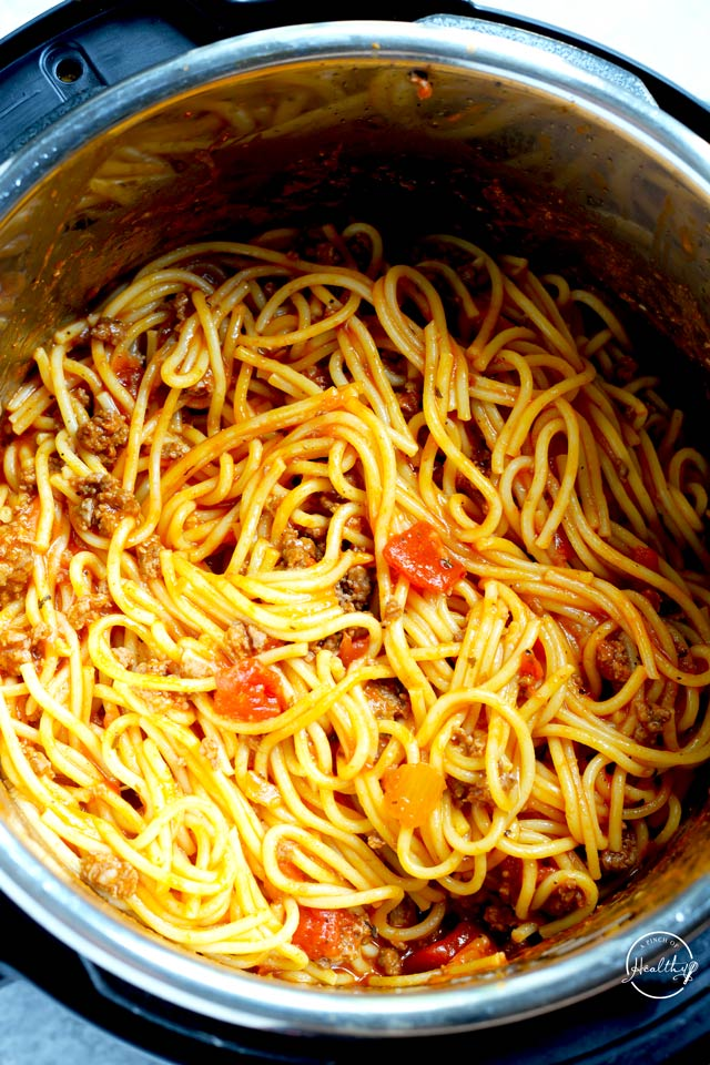 Instant Pot spaghetti from overhead