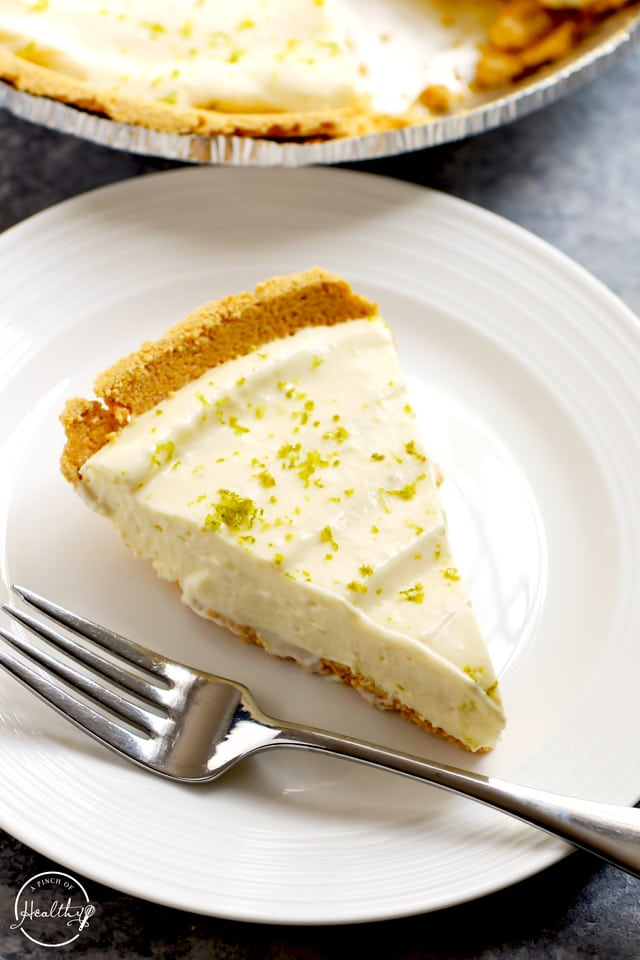Easy key lime pie slice closeup on white plate