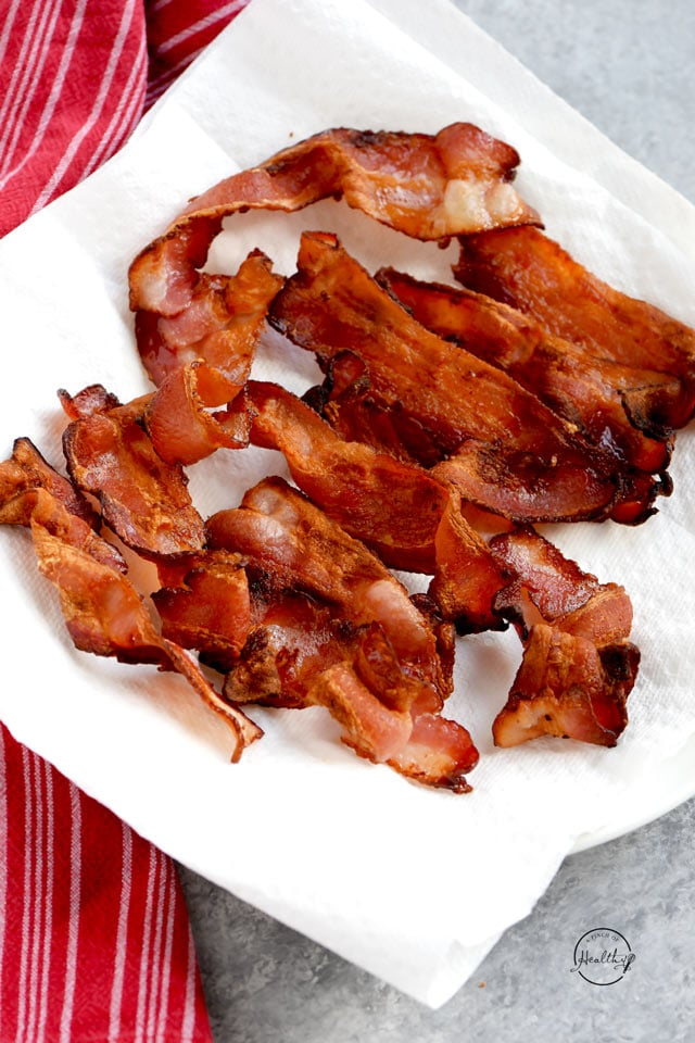 Air fryer bacon on paper towels