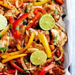 easy chicken fajitas made on a sheet pan