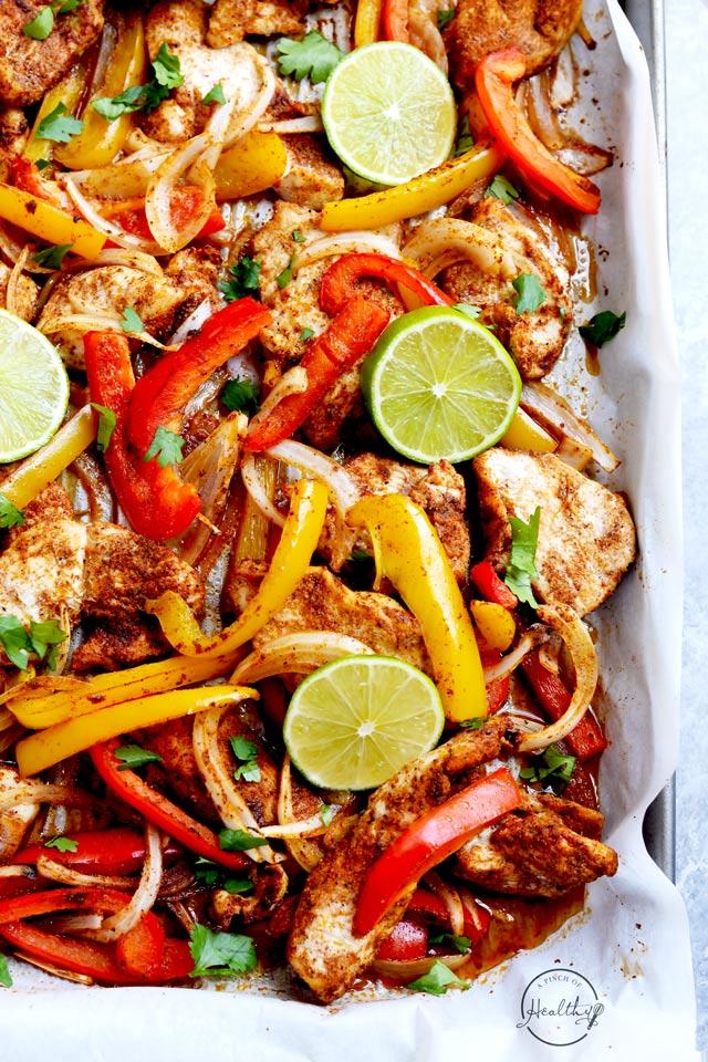 easy chicken fajitas made on a sheet pan