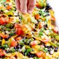 Vegetarian nachos with cabot cheedar