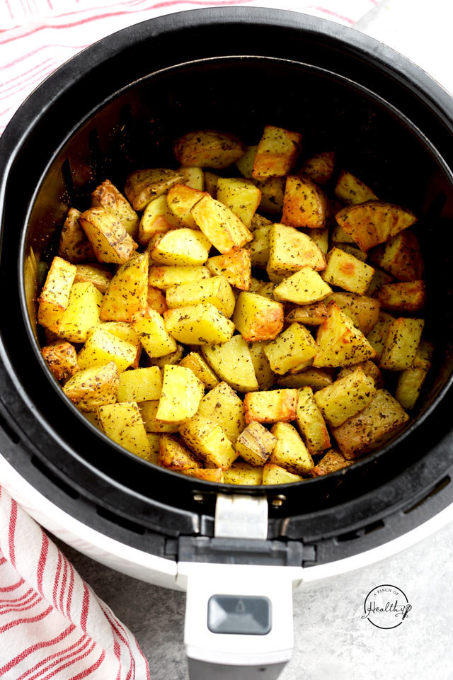 air fryer roasted potatoes from overhead