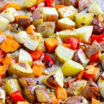 closeup breakfast potatoes on sheet pan