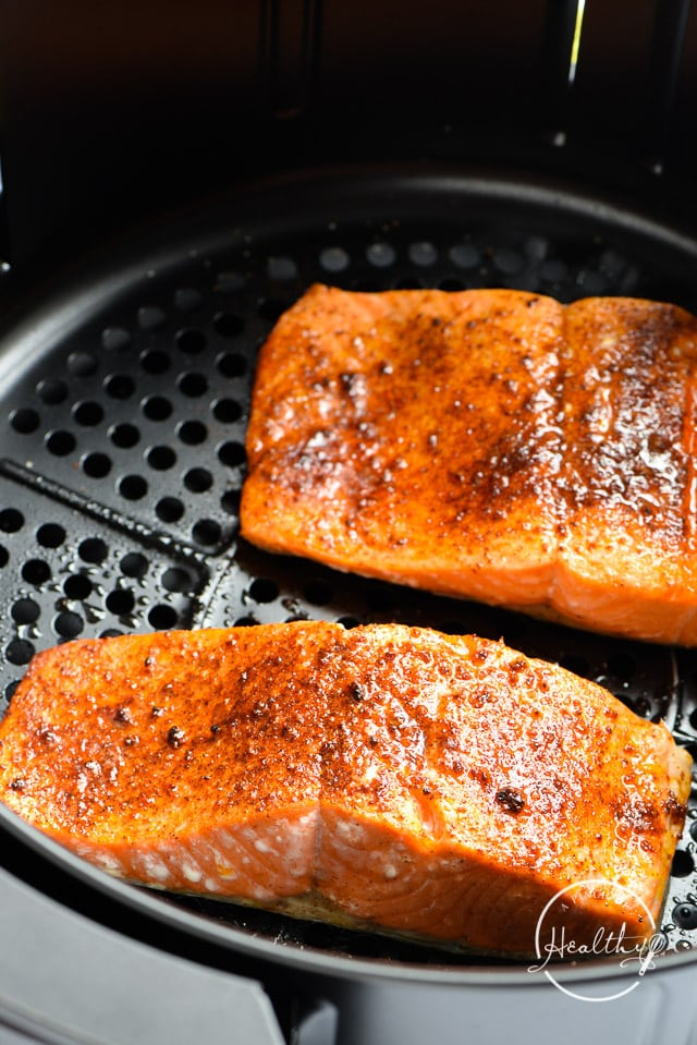 air fryer salmon in the fryer basket