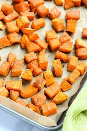 roasted sweet potatoes closeup
