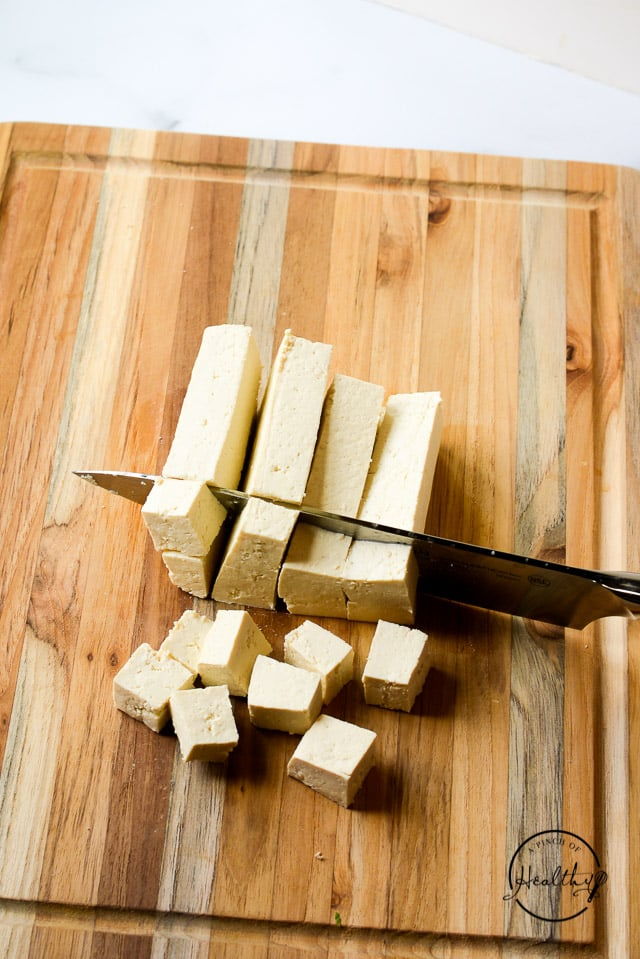 cutting tofu into cubes