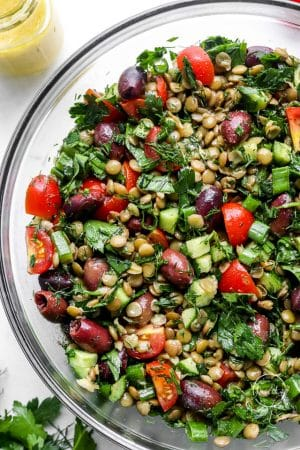 Lentil salad closeup in glass bowl