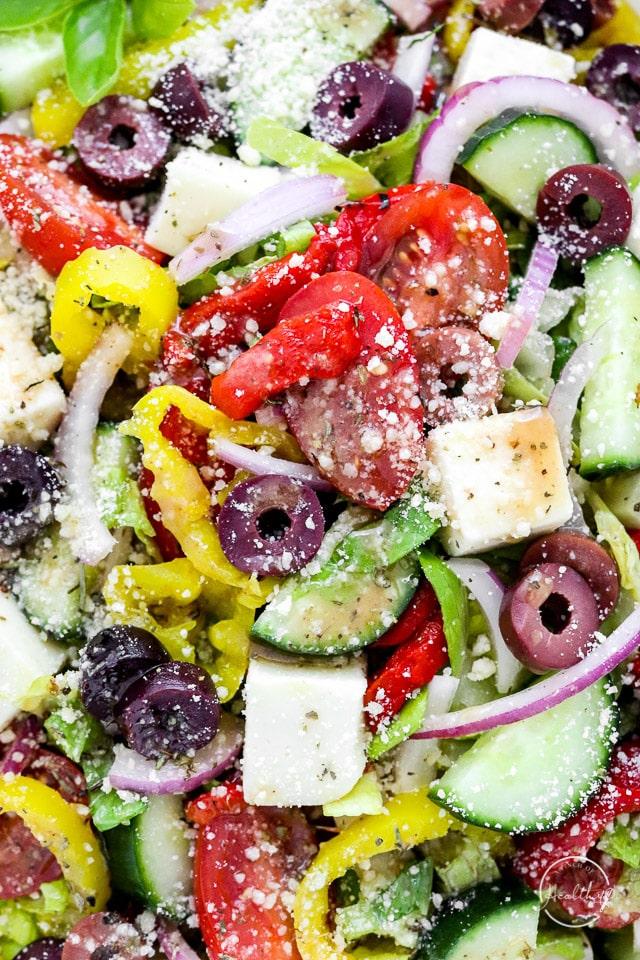 closeup of Italian chopped salad
