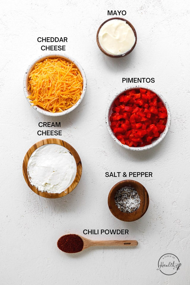 ingredients on a white surface with label text