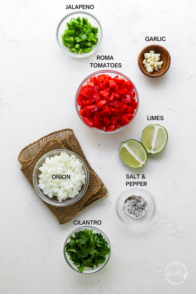 Ingredients with label text on white surface