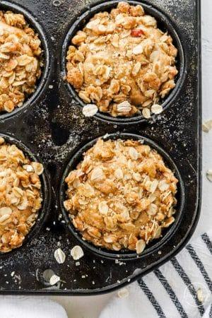 Apple Muffins closeup in muffin tin